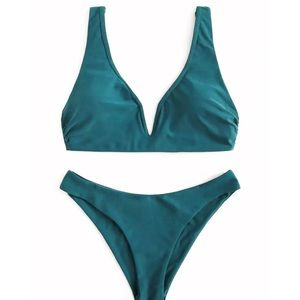 new✨ shein emerald green high leg bikini set